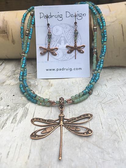 3 Strand Aqua Blue Copper Dragonfly Necklace Set