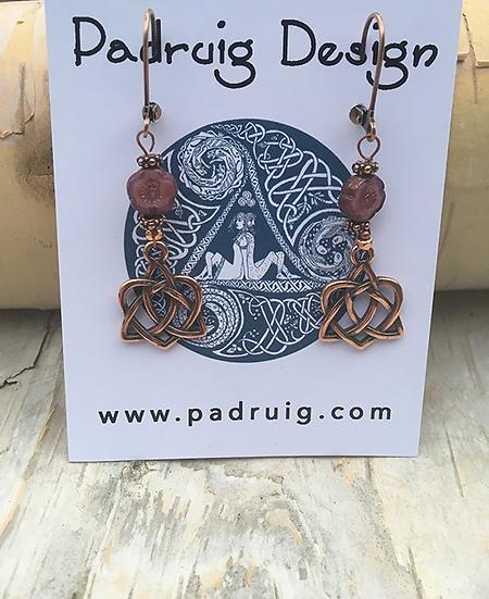 Rose Copper Trinity Heart Earrings