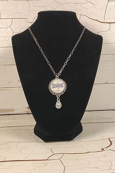 Silver Celtic Dragonfly Necklace with Crystal Drop