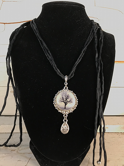 Silver Raven Tree Necklace with Crystal Drop
