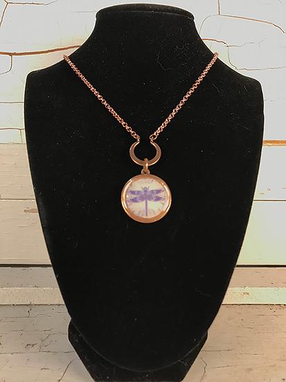 Copper Celtic Dragonfly Crescent Necklace