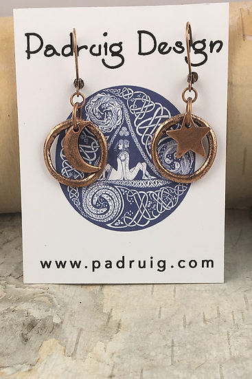 Copper Circle Moon and Stars Earrings