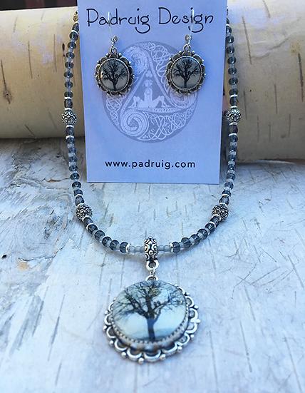 Antique Silver Raven Tree Necklace Set