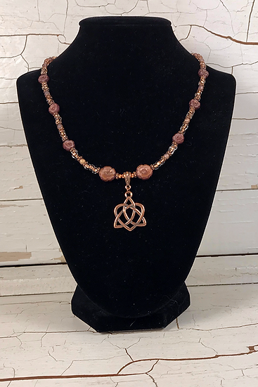 Rose Copper Trinity Heart Necklace