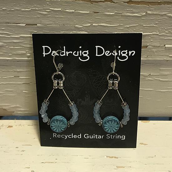 Blue Aster Guitar String Earrings