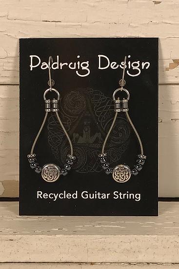 Hematite Guitar String Earrings