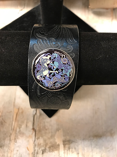 Silver Dream Horses Tooled Navy Leather Bracelet