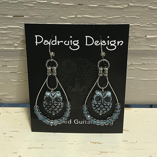 Denim Owl Guitar String Earrings