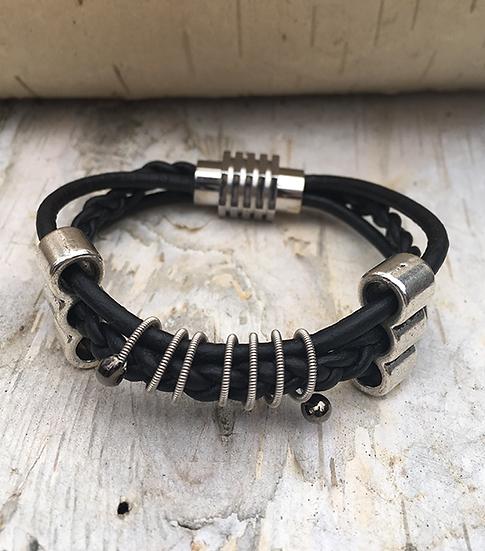 Black Leather Guitar String Bracelet