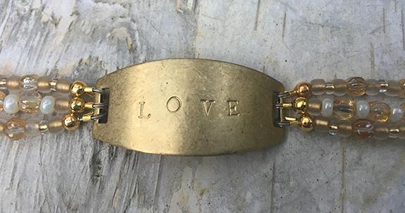 Love 3 Strand Hand Stamped Bracelet