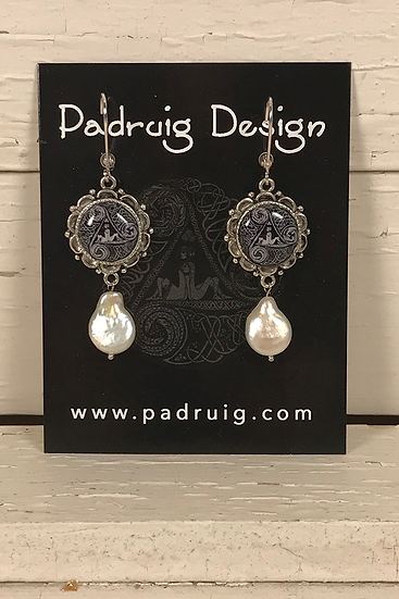 Silver Circle Of Life Earrings with Pearl Drop