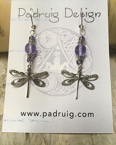 Silver Dragonfly and Tanzanite Earrings