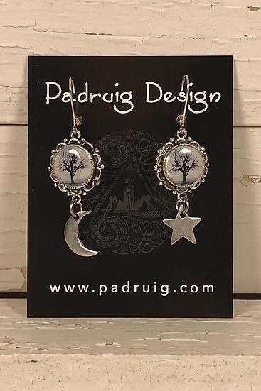 Silver Raven Tree Earrings