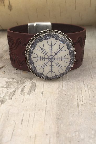 Silver Helm Of Awe Tooled Burgundy Leather Bracelet