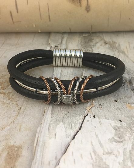 Black Leather Bass String Bracelet