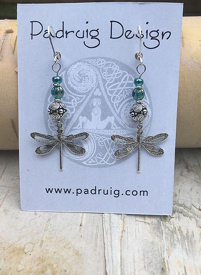 Silver Dragonfly Earrings Teal