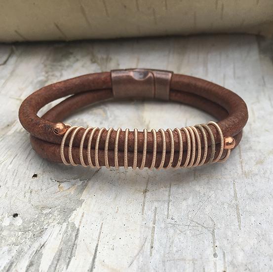 Leather Acoustic Guitar String Bracelet Brown