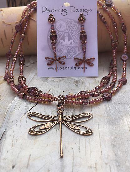 3 Strand Pink Silk Antique Copper Dragonfly Necklace Set