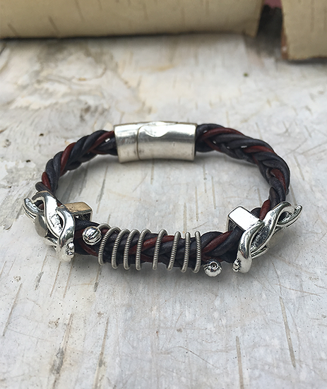 Indigo Red Leather Electric Guitar String Bracelet