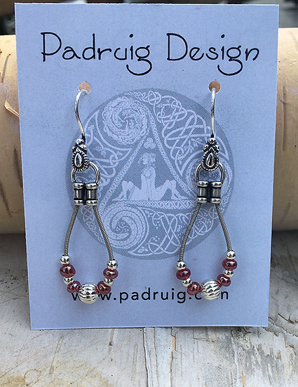 Recycled Guitar String Earrings Garnet