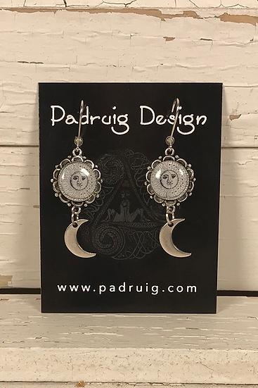Silver Sun, Moon, and Stars Earrings
