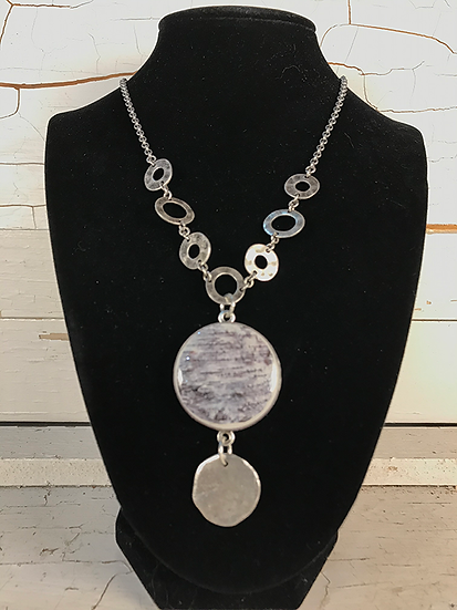 Silver Birch Disc Necklace