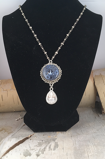 Silver Denim Circle Of Life with Crystal Teardrop Necklace