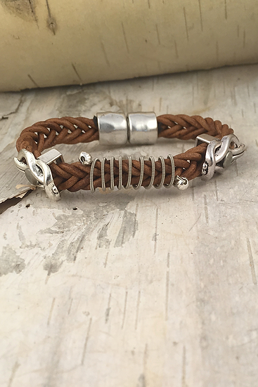 Leather Electric Guitar String Bracelet Tan