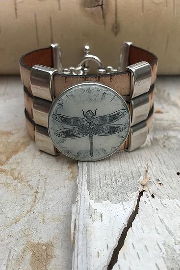 Silver Celtic Dragonfly 3 Bar Bracelet