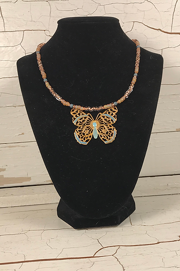 Hand Painted Copper Butterfly Necklace