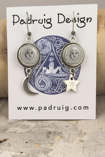 Silver Sun, Moon, & Stars Earrings