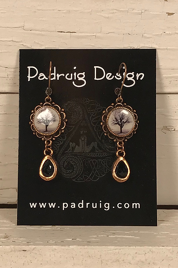 Copper Raven Tree Earrings with Black Crystal Drop
