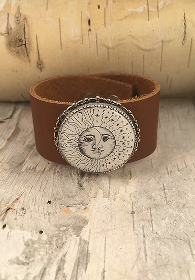 Antique Silver Sun, Moon, & Stars Cuff Tan
