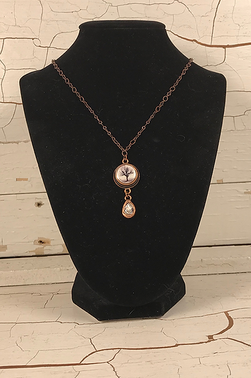 Copper Petite Raven Tree Necklace with Crystal Drop