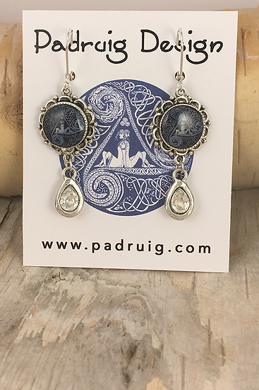 Silver Denim Circle Of Life with Crystal Teardrop Earrings