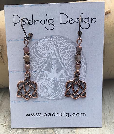Copper Trinity Heart Earrings