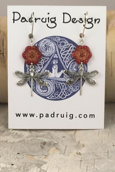 Silver Scarlet Wild Rose Dragonfly Earrings