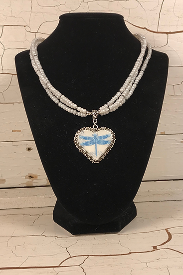 Antique Silver Blue Dragonfly Heart Necklace