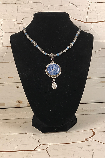 Silver Circle Of Life Necklace with Crystal Drop