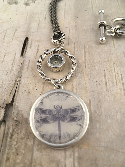 Silver Celtic Dragonfly Necklace