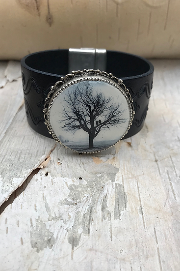 Raven Tree Tooled Navy Leather Bracelet