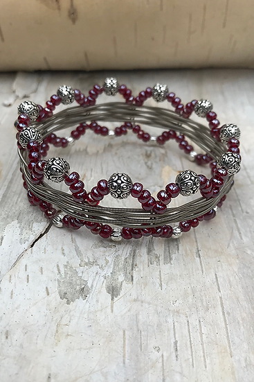 Electric Guitar String Bangle Garnet Luster