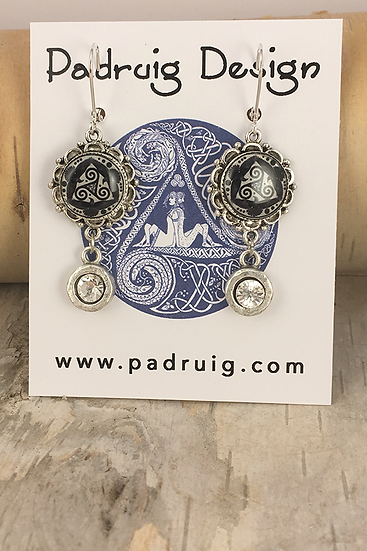 Silver Black Tri Fitheach with Crystal Drop Earrings