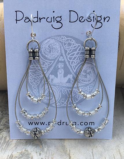 Recycled Guitar String Earrings Crystal