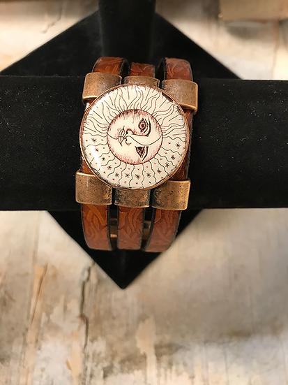 Copper Sun, Moon, & Stars 3 Strap Leather Bracelet
