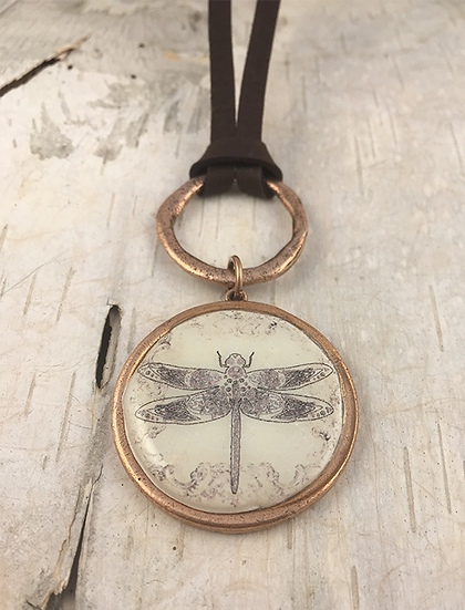 Copper Dragonfly Deerskin Lace Necklace