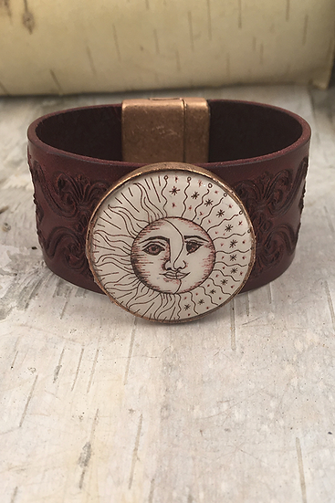 Copper Sun, Moon, & Stars Tooled Burgundy Leather Bracelet