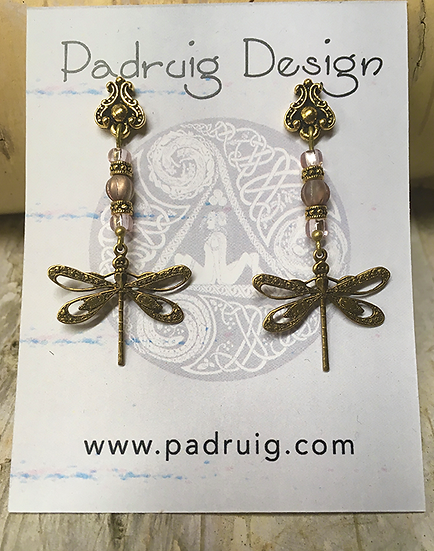 Gold Dragonfly and Apollo Earrings