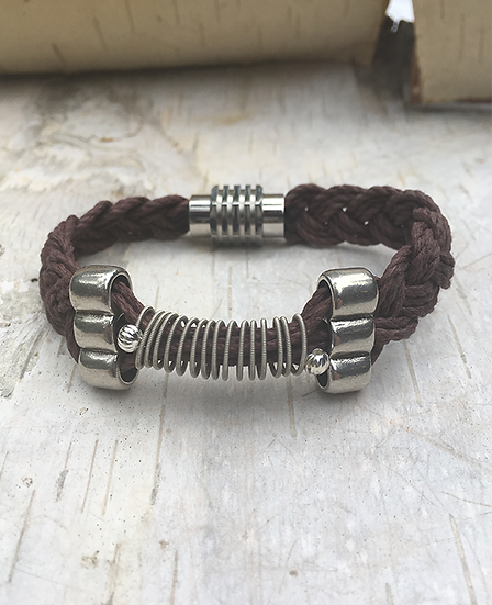 Brown Hemp Electric Guitar String Bracelet