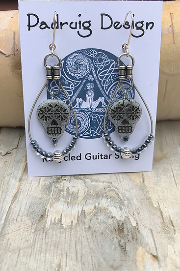 Blue Owl Guitar String Earrings